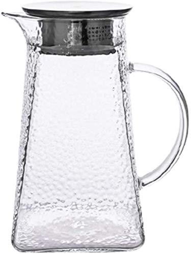 LSLY Hervidor de Agua Tetera de Vidrio de 1300 ml con Tapa de Acero Inoxidable Tetera de Vidrio de borosilicato Segura para la Oficina en casa Jugo de té Jarra de café Taza de té