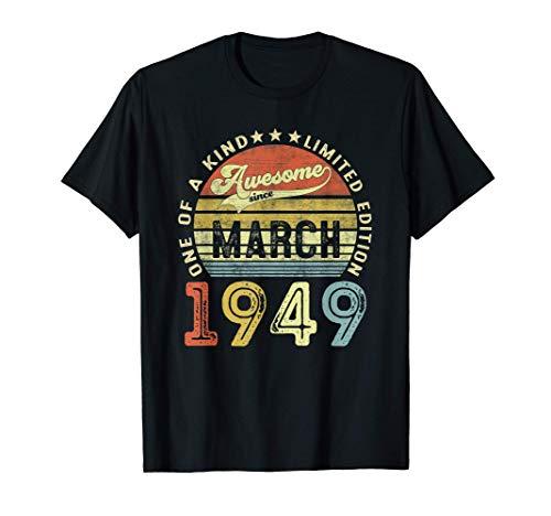 72 Anni Compleanno Uomo Donna Regalo Vintage Marzo 1949 Maglietta