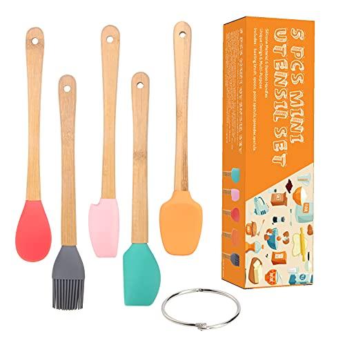 mini juego de utensilios de cocina de silicona para niños, mini utensilios de cocina resistentes al calor con asas de bambú...
