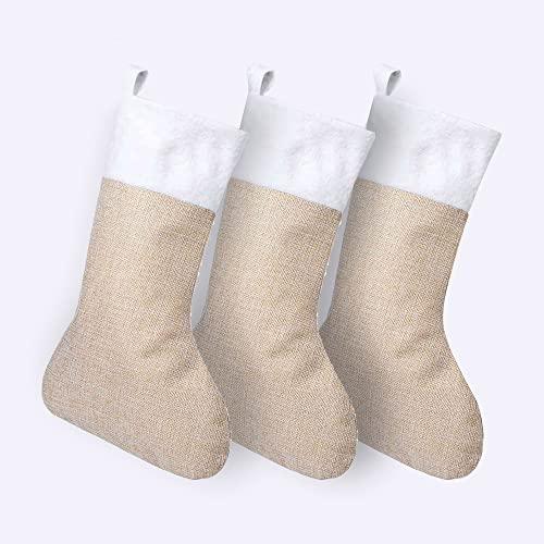IMPRENTA2.COM Pack de 3 Calcetines Navideños para Chimenea - Simples - Poliéster - Color Beige y Blanco