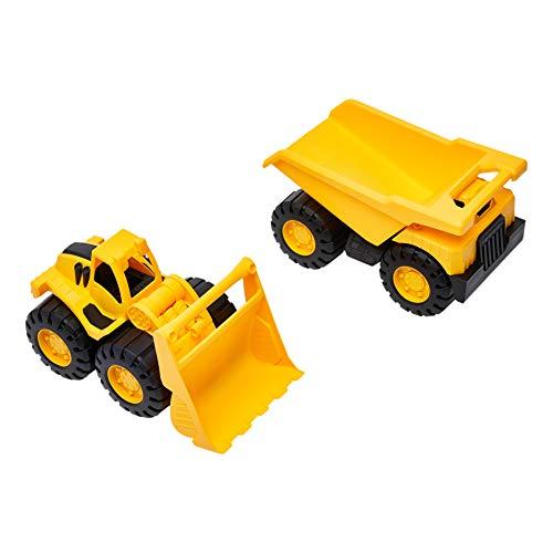 "Amazon Basics 10"" Indoor/Outdoor Toy Construction Vehicle 2 Pack, Yellow Dump Truck and Bulldozer"