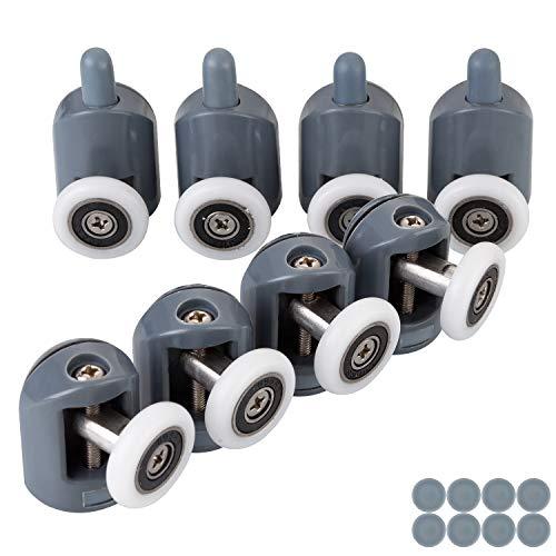 STARVAST Lot de 8 Roulettes pour Porte de Douche,Roulettes Cabine de Douche pour Salle de Bain 23mm (4 Supérieures et 4 Inférieures)