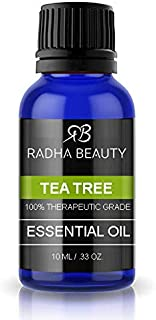 Radha Beauty Tea Tree Essential Oil 10ml - 100% Pure & Natural Premium Melaleuca Therapeutic Grade - Great with Soaps, Shampoo, Body Wash, Aromatherapy - Antifungal Treatment for Acne, Lice, Nails