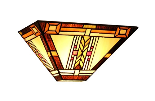 Chloe Lighting CH33291MS12-WS1 Gode, Tiffany-Style Mission 1-Light Wall Sconce, 12-Inch Wide, Multi-Colored