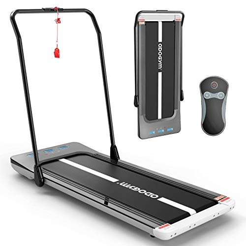 ODOGYM Under Desk Treadmill Walking Pad Foldable Aerobic Sport Fitness Equipment, Footstep Induction Speed Control Space Walk Machine, Walking Jogging Machine for Home/Office (with Handle)