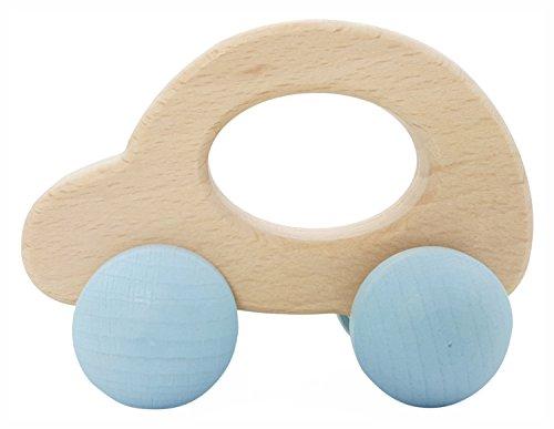 Hess 10864 - Holzspielzeug, Rolli Auto aus Holz, nature blau