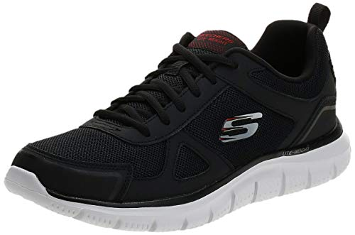 Skechers mens Track Scloric Oxford, Black/Red, 12 US