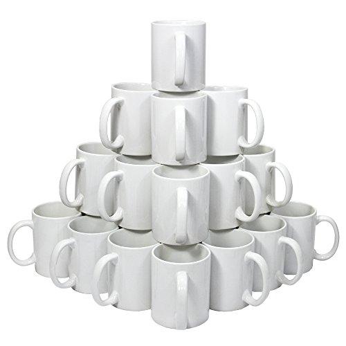 PixMax - 36 Tazze 325ml in Ceramica Ricoperta di Polimero Bianco per Sublimazione con Scatole