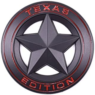 TrueLine Round Texas Edition Side Door/Tailgate Emblem Set of Two (Black With Red Letters)