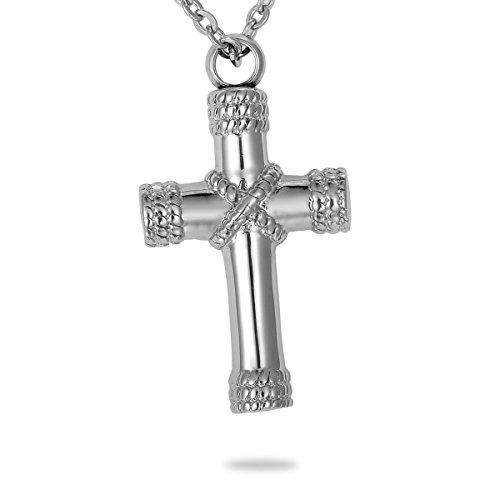 HooAMI Memorial Schmuck,Edelstahl Kreuz Anhänger,wasserdicht Unisex Gedenk Asche Andenken Halskette,Silber