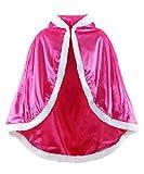 JerrisApparel Niña Princesa Capa Disfraz con Capucha Navidad Abrigos (150, Rosa)