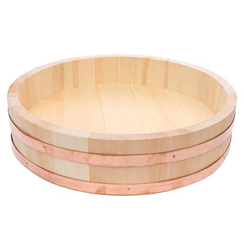Hemoton Ciotola di Legno per Sushi Oke Riso Mescolando Secchio Contenitore in Legno 33X33x7. 5 Cm