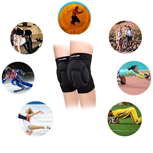 VOUMEY Protective Knee Pads, Thick Sponge Anti-Collision Kneepads Protector Non-slip Wrestling Dance Knee Pads Support Sleeve for Outdoor Sport(1 Pair)