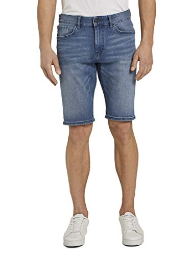 TOM TAILOR Herren Jeanshosen Josh Regular Slim Jeans-Shorts mit Superstretch Light Stone wash Denim,32
