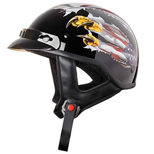 CARTMAN Motorcycle Half Face Helmet DOT Approved Bike Cruiser Chopper High Gloss, Medium