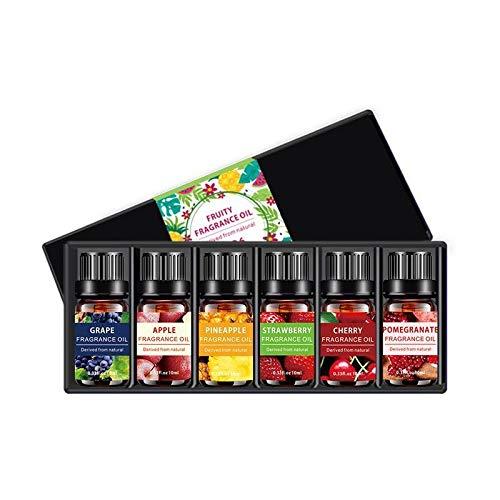 Top 6 Set Aceites Esenciales, 100% Puros y Naturales Aromaterapia Aceites Esenciales para Humidificador (Cereza, piña, fresa, uva, manzana, granada) 6 x 10 ml