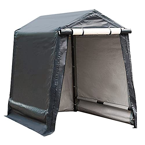 Abba Patio Outdoor Storage Shelter with Rollup Door Storage Shed Portable Garage Kit Tent for Motocycle Garden Storage Grey,6 x 8 ft