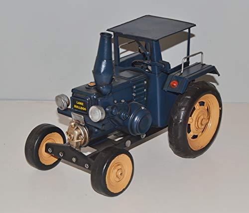 JS GartenDeko Blechtraktor Nostalgie Modellauto Oldtimer Marke Lanz Bulldog Traktor Modell aus Blech L 25 cm