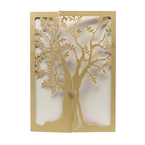 Fellibay Hochzeitseinladungen, Einladungskarten Blanko , Baum aus Kraftpapier, 10 Stück