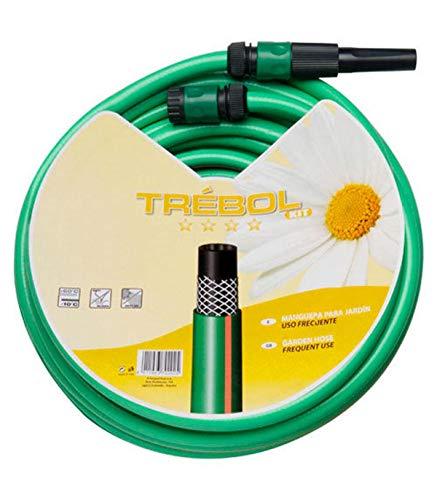 """SATURNIA 8070667 Manguera Verde Trebol Trenzado 15 mm. - 5/8"""" Rollo 15 metros Con Accesorios"""