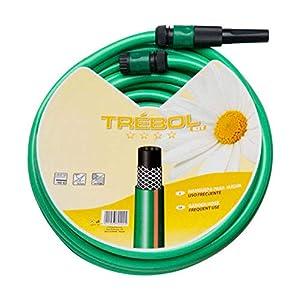 SATURNIA 8070667 Manguera Verde Trebol Trenzado 15 mm. – 5/8″ Rollo 15 metros Con Accesorios
