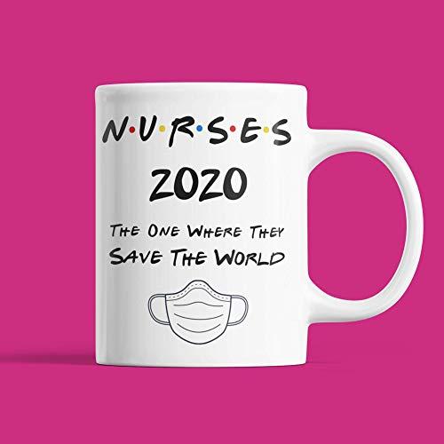 N\A Taza-Regalo para Enfermeras héroes en cuarentena de Hermana Amigo Hermano mamá papá 2020 Taza de café Divertida de 11 oz