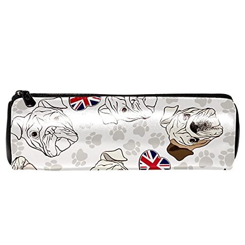 Estuche para lápices con diseño de Bulldogs y huellas inglesas, bolsa de almacenamiento, organizador de cosméticos para la escuela, adolescentes, niñas, niños, hombres y mujeres