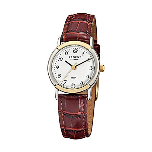 Regent Damen-Armbanduhr Elegant Analog Leder-Armband braun Quarz-Uhr URF576