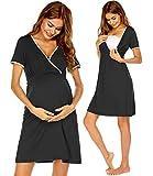 Ekouaer Casual V Neck Summer Maternity Nursing Breastfeeding Dress Short Sleeve Nursing Pajamas (Black XL)
