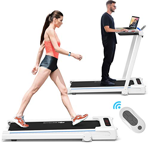 Goplus 3-in-1 Treadmill with Large Desk, 2.25HP Folding Electric Treadmills, LCD Display, Remote Control, Bluetooth Speakers, Walking Jogging Machine for Home/Office Use (White)
