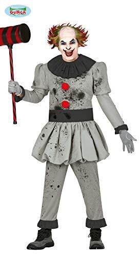 Guirca Mörder-Clown-Kostüm für Halloween grau M (48-50)