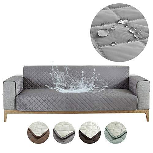 Carvapet Sofabezug wasserdichte Sofaüberwurf Antirutsch Sofahusse Schutz vor Haustier Katze Hunde Sofa überwurf Couch überzug für Sofa (Grau, 3 Sitzer)