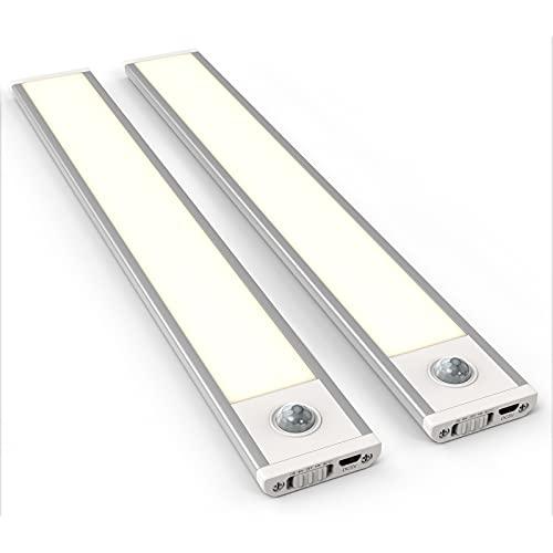 SIBI LED Sensor Light, Wiederaufladbar Schrankbeleuchtung mit Bewegungsmelder, Ultra dünn Unterbauleuchte für Küche, Kleiderschrank, Treppe, Warmweiss 3000K, 2 Stück