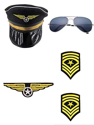 Pilot-Set 4 stuks - Hoed, bril, epaulettes & badges - accessoires voor volwassenen perfect voor carnaval & cosplay