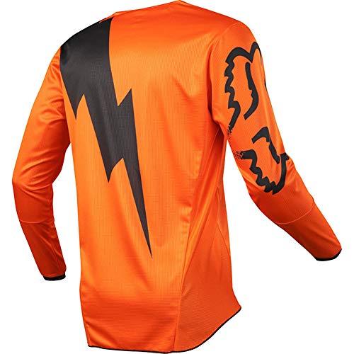 JunForth Camiseta de Bicicleta Moto Motocross MTB Jersey Ciclismo Manga Larga Deporte al Aire Libre para Gimnasio Entrenamiento Correr,Orange,3XL-110-120KG