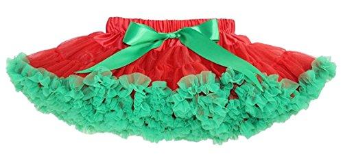 Happy Cherry Niñas Faldas Bebés Tutú de Cintura Elástica Corta Tul Fiesta Boda Cumpleaños - Rojo Verde 5-7 años