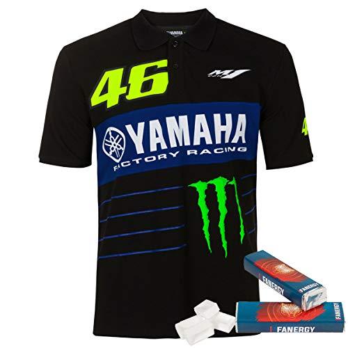 Valentino Rossi Yamaha Polo Power Line - schwarz + 2X FANERGY Traubenzucker (XXL)
