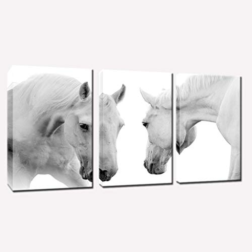 2 White Horses Canvas Art Prints for Modern Home Wall Decor Stretched Ready to hang (16x24inch x3)
