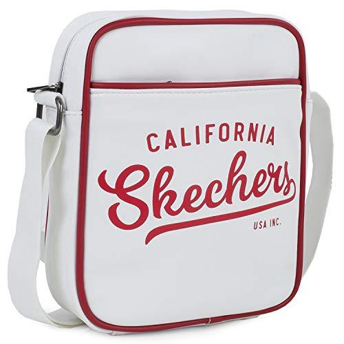 Skechers schoudertas, klein, vintage, messengertas, nylon, stoffen handvat, origineel cadeau, unisex, handpop, exclusief design, S918, wit, eenheidsmaat