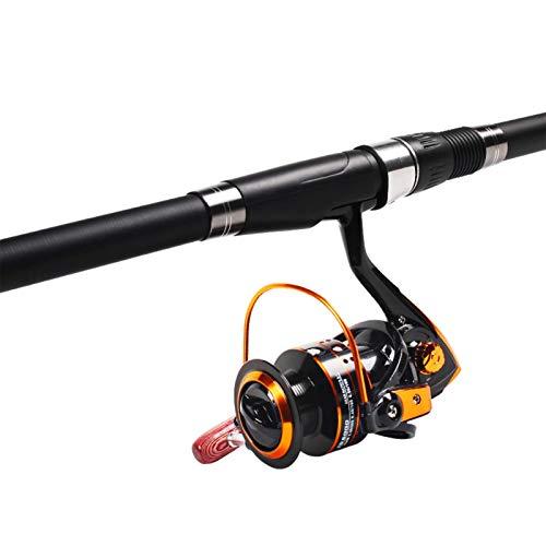 min min Kohlefaser-Teleskop-Angelrute mit Rollen-Combo-Kit mit Tackle-Box, Angeln Anfänger und Angler, Licht und elastisch