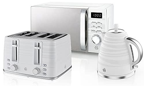 Swan Symphony Kettle, Microwave, and 4-Slice Toaster Set in White, Stylish Design, Energy Efficient, STRP1026WN