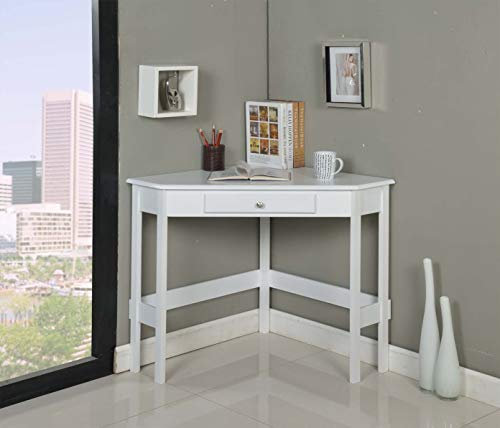 kings furniture pc brands Kings Brand Furniture Wood Corner Desk with Drawer (White)