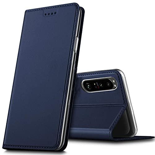 Verco Handyhülle für Sony Xperia 1 III, Premium Handy Flip Cover für Sony 1 III Hülle [integr. Magnet] Book Hülle PU Leder Tasche, Blau