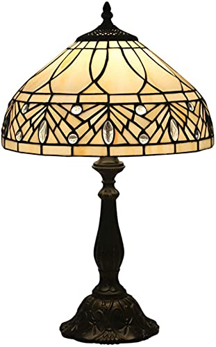 JWCN Tiffany Style Lámpara de Mesa Crema manchada y Taladro de Cristal Lámpara de Escritorio Antigua...
