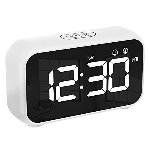 CHEREEKI Sveglia Digitale, Sveglia Digitale da Comodino USB e a Batteria con 12 24 Ore, Funzione di Snooze per Casa e Ufficio