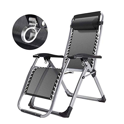 Lounge Chair Silla reclinable Patio Zero Gravity para Personas de Servicio Pesado, Silla de Tumbona de Gran tamano para sillas portatiles de jardin con Tumbona para jardin, Soporte 200 kg,Black
