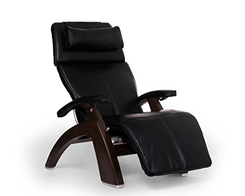 Perfect Chair Human Touch PC-610 Live Omni-Motion Dark Walnut Zero-Gravity Recliner Premium Leather Fluid-Cell Cushion Memory Foam Jade Heat - Black Premium Leather - in-Home White Glove Delivery