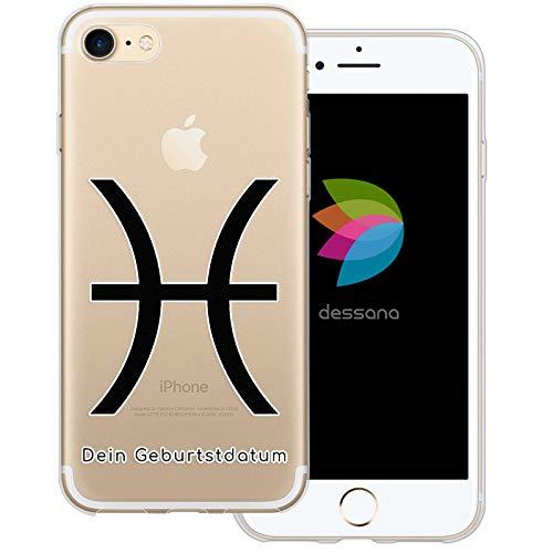 dessana sterrenbeeld met datum transparante silicone TPU beschermhoes 0,7 mm dunne mobiele telefoon soft case cover tas voor Apple, Apple iPhone 8, Vissen verjaardag