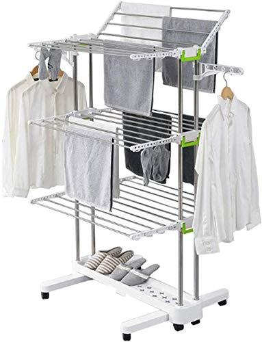 Tendedero eléctrico Estante de secado - Rack de secado para ropa para lavandería 3 niveles, estante de ropa rodante con alas plegables, bastidor de pie plegable para interior al aire libre, blanco