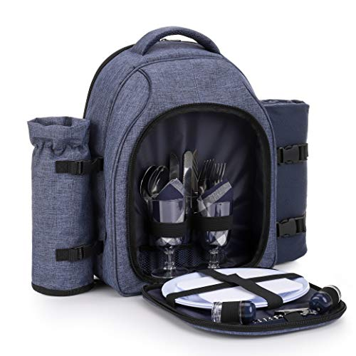 apollo walker Picnic Backpack Bag for 2 Person with Cooler Compartment, Detachable Bottle/Wine Holder, Fleece Blanket, Plates and Cutlery Set (2 Person, Navy)